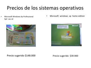 Precios de los sistemas operativos