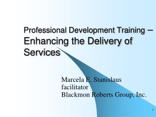 Professional Development Training  –Enhancing the Delivery of Services