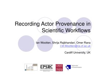 Recording Actor Provenance in Scientific Workflows