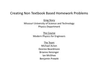 Creating Non Textbook Based Homework Problems Greg Story