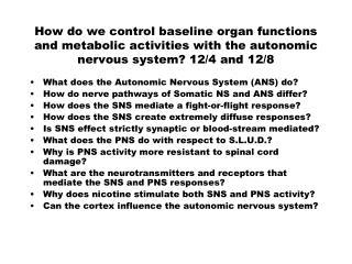 What does the Autonomic Nervous System (ANS) do?