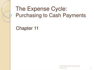 The Expense Cycle:  Purchasing to Cash Payments