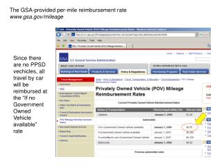 The GSA-provided per-mile reimbursement rate gsa/mileage