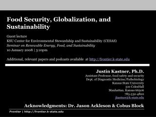 Food Security, Globalization, and Sustainability