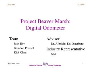 Project Beaver Marsh:  Digital Odometer