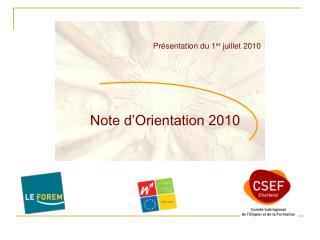 Note d'Orientation 2010