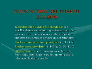 COMPOSICION DEL CUERPO HUMANO