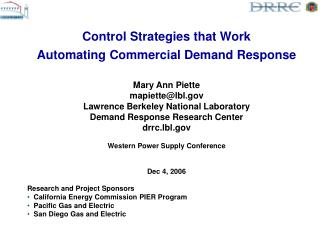 Control Strategies that Work Automating Commercial Demand Response