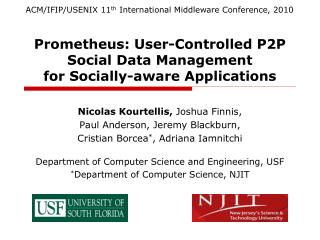 Prometheus: User-Controlled P2P Social Data Management for Socially-aware Applications