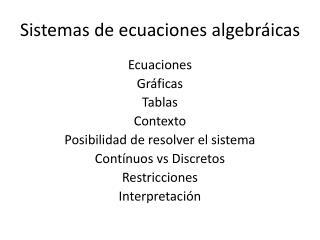 Sistemas de ecuaciones algebráicas