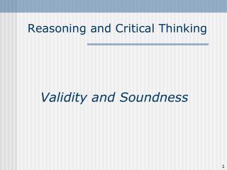 Reasoning and Critical Thinking