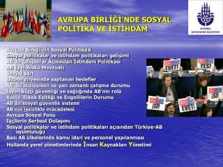 AVRUPA BİRLİĞİ'NDE SOSYAL POLİTİKA VE İSTİHDAM