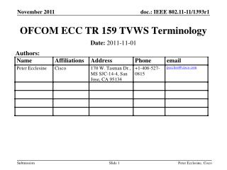 OFCOM ECC TR 159 TVWS Terminology