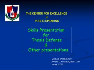 THE CENTER FOR EXCELLENCE  in PUBLIC SPEAKING