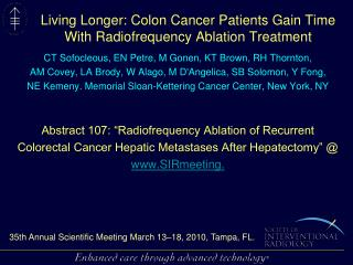 Living Longer: Colon Cancer Patients Gain Time With Radiofrequency Ablation Treatment