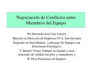 Negociación de Conflictos entre Miembros del Equipo