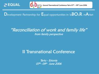D evelopment Partnership for E qual opportunities in la BO u R  m A rket