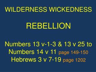 WILDERNESS WICKEDNESS REBELLION Numbers 13 v-1-3 & 13 v 25 to Numbers 14 v 11  page 149-150