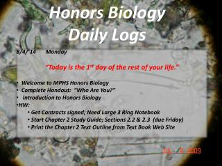 Honors Biology Daily Logs
