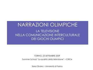 NARRAZIONI OLIMPICHE LA TELEVISIONE NELLA COMUNICAZIONE INTERCULTURALE DEI GIOCHI OLIMPICI