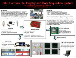 Sensors Temperature sensors (0-300° F) Pressure sensor (0-100 psi)