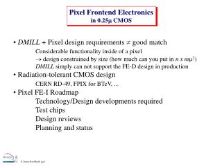 Pixel Frontend Electronics in 0.25  CMOS