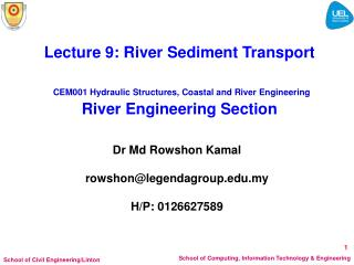 Lecture 9: River Sediment Transport