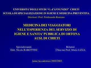 Specializzando  Dott. Nicola RABOTTINI