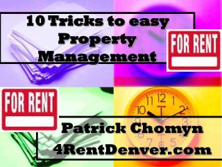 10 Tricks to easy Property Management
