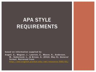 APA style requirements