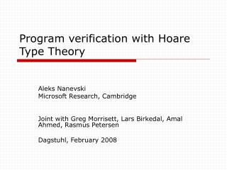 Program verification with Hoare Type Theory