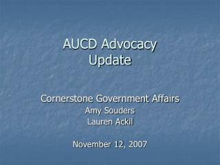 AUCD Advocacy Update