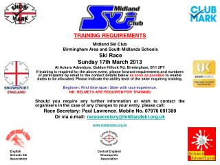 TRAINING REQUIREMENTS Midland Ski Club  Birmingham Area and South Midlands Schools Ski Race