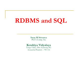 RDBMS and SQL