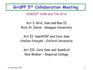 GridPP 5 th  Collaboration Meeting