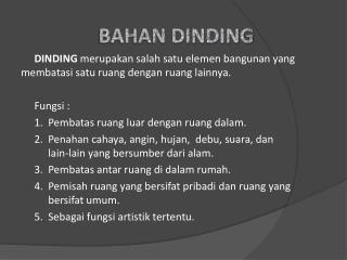 BAHAN DINDING