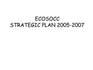 ECOSOCC  STRATEGIC PLAN 2005-2007