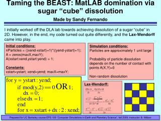 "Taming the BEAST: MatLAB domination via sugar ""cube"" dissolution Made by Sandy Fernando"