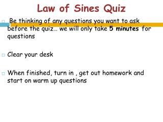 Law of  Sines  Quiz