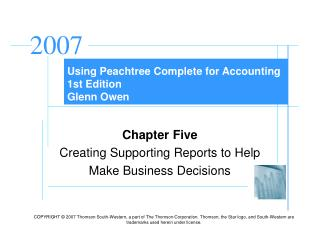 Using Peachtree Complete for Accounting 1st Edition Glenn Owen