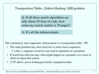 Transposition Tables, Zobrist Hashing, GHI problem