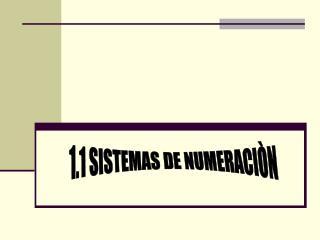 1.1 SISTEMAS DE NUMERACIÒN
