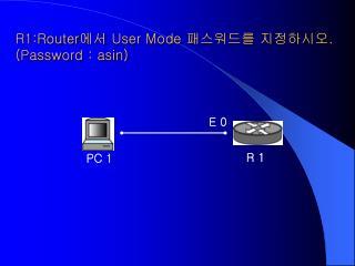 R1:Router 에서  User Mode  패스워드를 지정하시오 . (Password : asin)