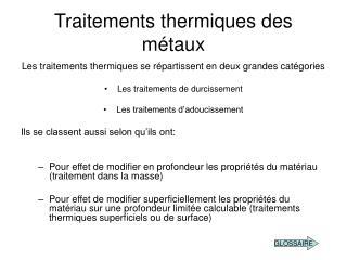 Traitements thermiques des métaux