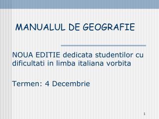 MANUALUL DE GEOGRAFIE