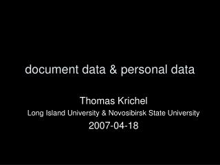 document data & personal data