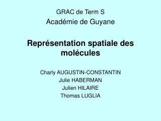 GRAC de Term S Acad�mie de Guyane Repr�sentation spatiale des mol�cules Charly AUGUSTIN-CONSTANTIN