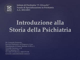 Introduzione alla Storia della Psichiatria