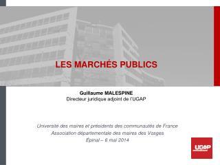 LES MARCHÉS PUBLICS Guillaume MALESPINE Directeur juridique adjoint de l'UGAP