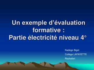 Un exemple d  valuation formative : Partie  lectricit  niveau 4